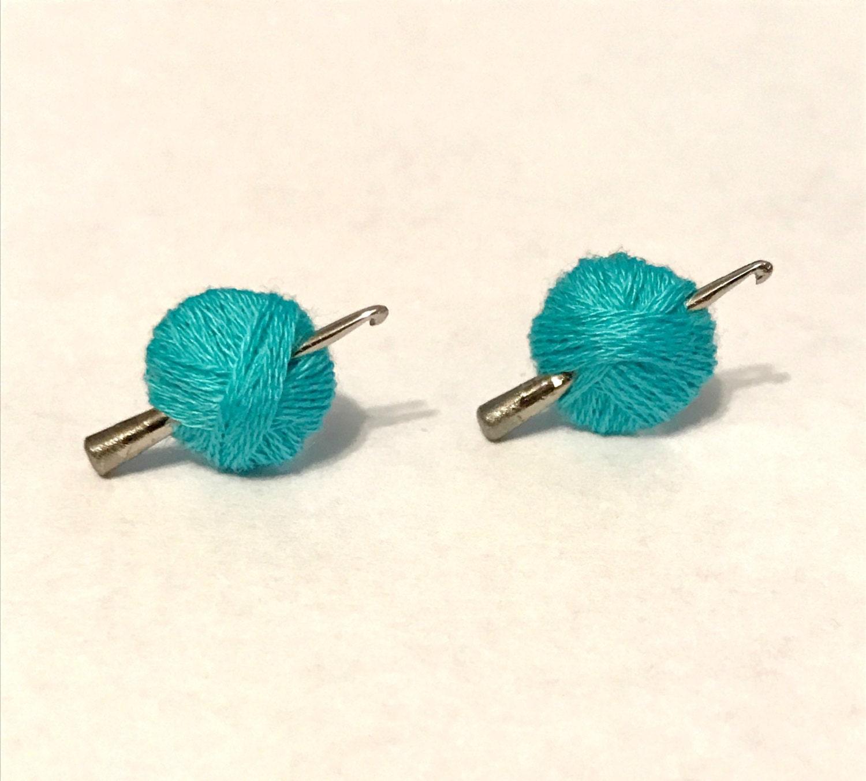 Crochet Hook Earrings: Crochet Hook Earrings Turquoise Yarn Ball Crochet Gift Mini