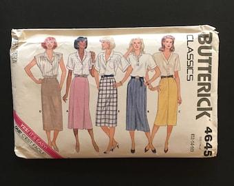 Vtg 80's Butterick Pattern 4645  - Straight Skirt - Size 12 14 16 - Uncut