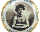 """The Tattooed Lady - Altered Vintage Plate 7.75"""""""