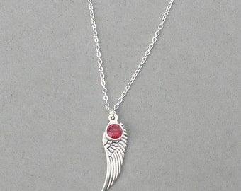 July Birthstone and Angel Wing- Ruby Swarovski Drop Necklace