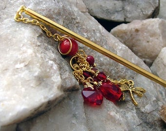 Deep Red Hair Stick Japanese Geisha Hairstick Red Coral and Crystal Oriental Hair Pick Kanzashi Hair Pins Hair Chopsticks Hair Pic - Jurmala