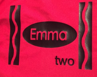 Girls or boys crayon  birthday shirt red blue or pink