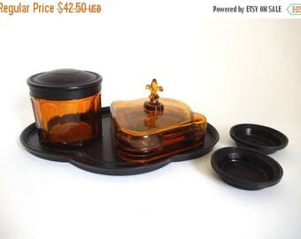 Mid Century Amber Glass Smoking Set by GRIFFART - Cigarette Holder - Ashtrays - Tray