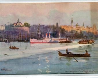 Sydney from Darling Harbour Australia A H Fullwood artist 1910c Tuck postcard
