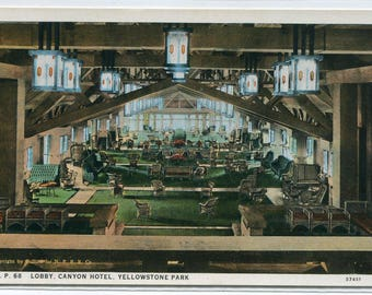 Canyon Hotel Lobby Interior Yellowstone National Park Wyoming 1920s postcard