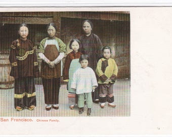 Chinese Family Chinatown San Francisco California 1905c postcard