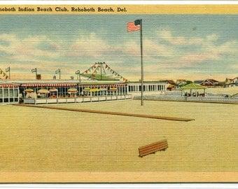 Rehoboth Indian Beach Club Rehoboth Beach Delaware linen postcard