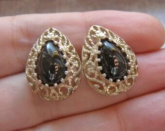 Vintage Sterling Silver Earrings, Black Onyx Earrings, Pear Tear Drop Shape Earrings, Filigree Earrings