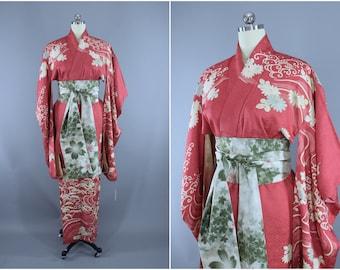 1960s Vintage Silk Kimono Robe / Wedding Dressing Gown Lingerie / Downton Abbey Art Deco / Mauve Pink Floral Furisode