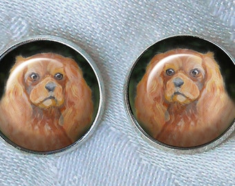 Ruby Cavalier King Charles Post Earrings ~ Original Art ~ Cavi Earrings ~ Pet keepsake ~ June Birthday