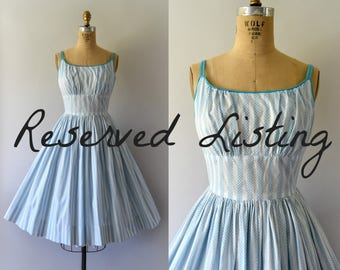 RESERVED LISTING -- 1950s Vintage Dress - 50s Striped Turquoise Cotton Sundress