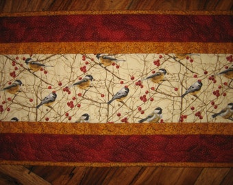"Christmas Table Runner Mountain Chickadees Quilted, 13 x 46"", Reversible, 100% cotton fabrics"