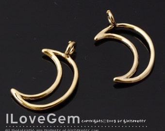 NP-1868 Gold Plated, Open Crescent  Moon, Pendant, 2pcs