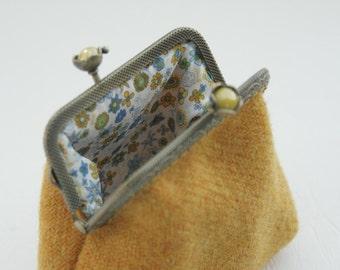 Bronze metal frame coin purse/yellow pearls / Yellow Harris tweed/ Liberty tana lawn