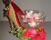 Sparkling gold holiday high heel candy dish