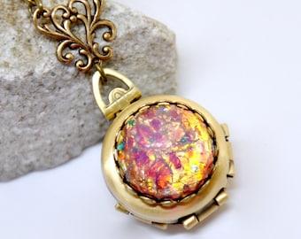 Fire Opal Locket Necklace, Antique Brass 4 Picture Locket, Fire Opal Necklace, 4 Photo Locket Necklace, Four Way Locket, Fire Opal Jewelry