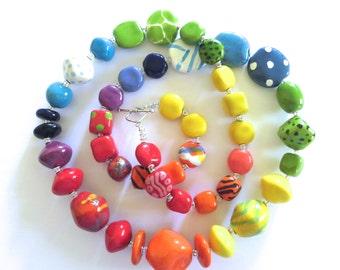 Beaded Necklace, Kazuri Beads,  Fair Trade, Ceramic Jewellery, Rainbow Colors