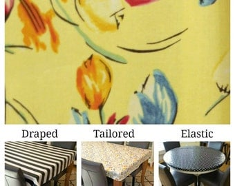 Laminated cotton aka oilcloth tablecloth custom size and fit choose elastic, tailored or draped. tulips on yellow