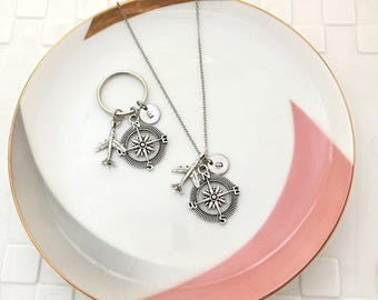 His and Hers, Compass Necklace, Airplane Necklace, Initial Necklace, Travel Necklace, Hand Stamped Necklace, Key Ring, Travel Key Ring