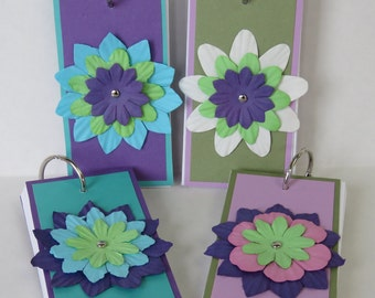 Paper Flowers, Pocket Notebooks, Mini Notebooks, Flower Notepads, Handmade Notebooks.