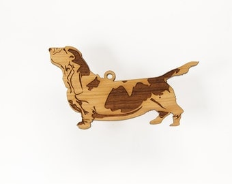 Basset Hound Ornament from Timber Green Woods. Personalize with Name Engraving. Made in the U.S.A! (Standing Profile Basset Hound)