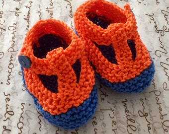 Unisex baby summer shoes - orange and blue hand knit t bar shoes  with blue buttons - 0-3 months only