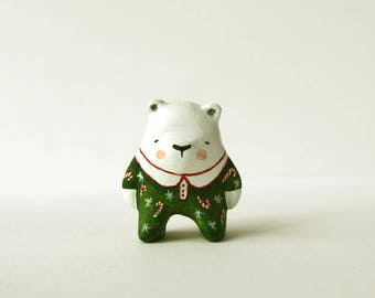 Christmas art - Polar bear totem -  Animal figurine