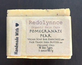 Pomegranate Pear--Organic Vegan Soap Bar made with Essential Oils. GMO free.
