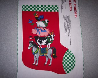 DIY Christmas stocking fabric panel --  3042