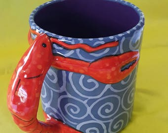 MUG, Hand Painted Mug, lobster mug, Ceramic mug, Whimsical Mug, Coffee Mug, Tea Mug,Hot chocolate Mug,Cocoa Mug,Large Mug,Unique Mug,lobster