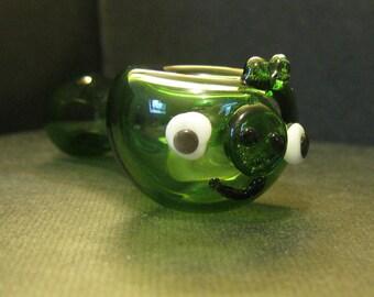 Glass Pipe Green Piggy