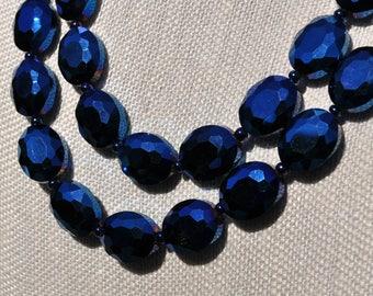 Cobalt Blue Oval Crystal Statement Necklace