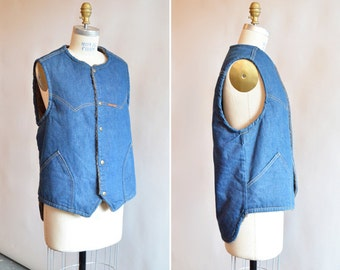 Vintage 1970s DENIM outerwear vest