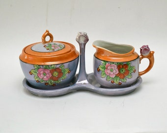 Lusterware Creamer & Sugar Set with Holder / Hand Painted / Made in Japan/ Orange and Periwinkle
