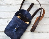 Waxed Canvas Small Hunter Satchel in Rook, Indigo Waxed Canvas Crossbody Bag, Waxed Canvas Bag, Purse, Travel Bag, Crossbody Bag, For Her