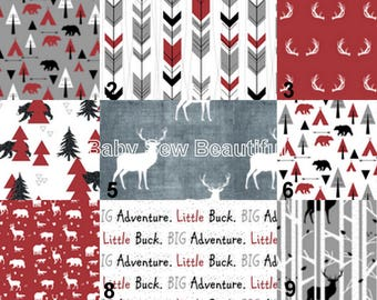 Custom Rustic Buck Bedding, Woodland Bedding, Elk Bedding Set, Crib Bumper, Crib Rail Guard, Moose, Personalized Bedding, Red, Gray, Black
