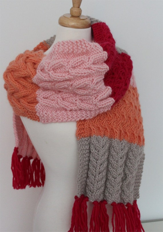 Knitting Pattern For Sampler Scarf : KNITTING PATTERN- The Jane Scarf. Cable sampler oversized scarf. PDF knitting...