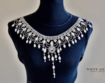 Crystal Bridal Shoulder Necklace, Statement Necklace, Vintage Inspired Necklace, Backdrop Necklace