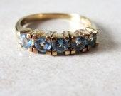REDUCTION Vintage 9K Yellow Gold Five Aquamarine  Ring Size 6 1/2 M 1/2