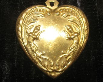 6 Pieces Victorian Brass Heart Necklace Pendant Six Pieces 2 Inch Tall and 1 3/4 Inch Wide Valentine Heart Raw Brass Jewelry Finding Supply