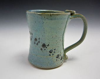 Large Ceramic Coffee Mug - Stoneware Coffee Mug - Blue Green - Paw Prints - Pottery Clay Mug  - 16 ounces oz - Tea Cup - Beer Stein
