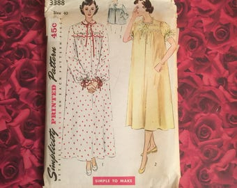 50's Nightgown Bed Jacket Simplicity Sewing Pattern