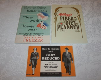 Three 3 Vintage Paper Booklets Kellogg's Fiber Diet Planner, Electric Farm & Home Freezer, Knox Gelatin How to Reduce and Stay Reduce