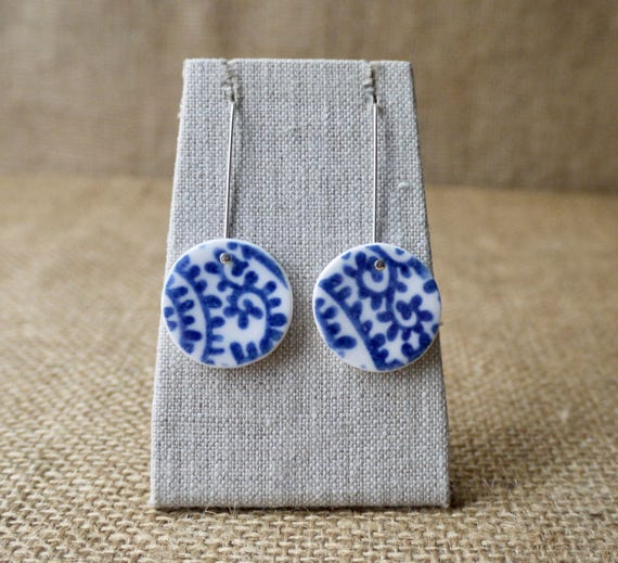 Porcelain Jewellery, Blue Paisley Earrings by Mrs Peterson Pottery