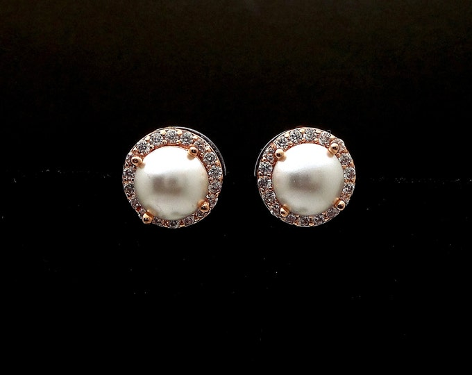 bridesmaid gift bridal earrings wedding jewelry half round pearl stud earrings post swarovski white cream halo cubic zirconia pink rose gold