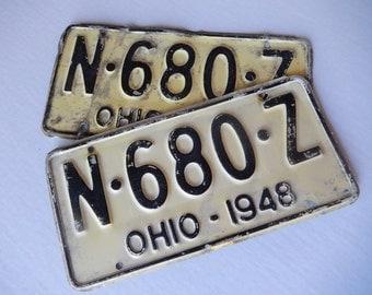 License Plates Ohio 1948 Pair Rustic Garage, Industrial, Man Cave, Pub, Bar Decor, Wall Hanging, Home Decor