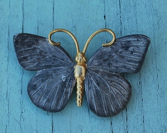 Butterfly Pin, Vintage Pewter Butterfly Pin, Pewter and Gold Colored Butterfly Pin, Costume Jewelry,Butterflies, accessories,Costume jewelry