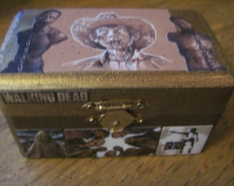 The Walking Dead-Carl and Zombies Small Handcrafted Decoupauged Wood Box