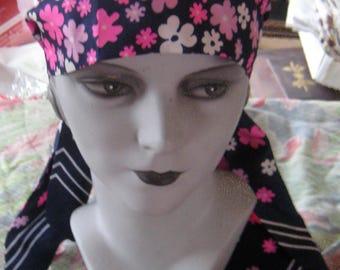BoHo Chic Flower Power Retro Mod Vintage Head Band Scarf Pink Flowers