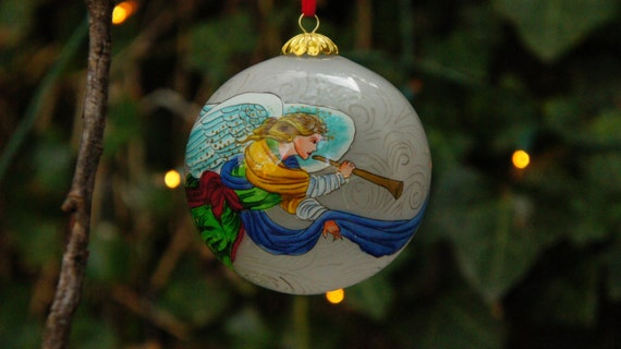Vintage s signed hand painted angel glass ball christmas